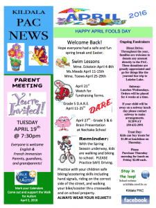 Pac april newsletter and calendar kildala elementary school for Free april newsletter template
